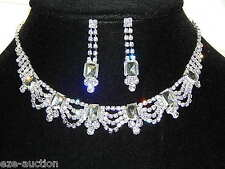 Silver With Clear Rhinestone Collar Choker Prom Necklace and Earrings Set