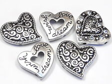 """5 - 2 HOLE SLIDER BEADS ANTIQUED SILVER CRYSTAL SWIRLED HEARTS """"WISH LOVE DREAM"""""""