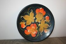 Russian Vintage Hand Painted Lacquered Wooden Decorative wall Plate Flowers USSR