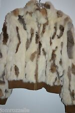 WILSON'S LEATHER MAXIMA  MULTI-COLORED RABBIT FUR JACKET SZ Large short
