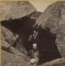 STEREOVIEW CAVE PEOPLE EMERGING FROM THE DARKNESS. MONADNOCK MOUNTAIN, N.H.