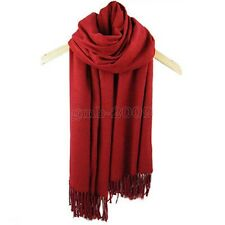 Women's Fashion Dark Red 100% Cashmere Pashmina Solid Warm Wrap Shawl Scarf