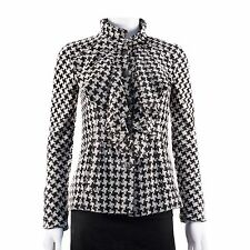 CHANEL SPRING JACKET 09P - 2 4 34 - BLACK WHITE HOUNDSTOOTH CC BLAZER COAT 2009