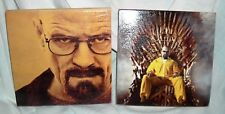 "2 - BREAKING BAD Walter White Wood Art - Ready to Hang or Desk - Each 5"" x 5"""