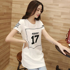 Summer T-shirt printing letters slim Korean ladies clothes wear cotton shirt