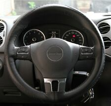New Black Soft Comfy Stitch On Style Steering Wheel Skin Wrap Cover PVC Leather