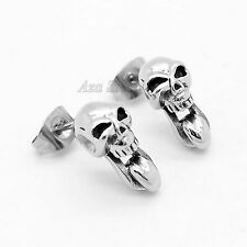 One Pair of 316L Men's Silver Skull Tongue Licking Stainless Steel Stud Earrings