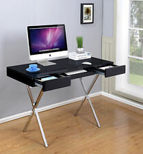 Kings Brand Contemporary Style Black With Chrome Finish Legs Home & Office Desk