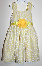 Sweet Heart Rose Toddler Girl Yellow dots Dress Sz: 4T