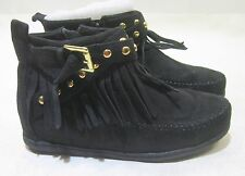 new  black flat comfortable sexy ankle boots  frill/Gold stud   size   8