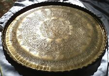 60cm Antique Islamic Persian Art HandMade Hammer Engraved Brass Wall Table Tray