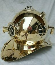 ANTIQUE U S NAVY MARK V SOLID  BRASS DIVING DIVERS HELMET
