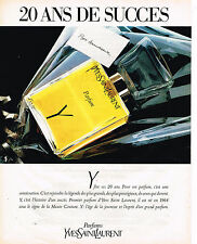 PUBLICITE ADVERTISING 054  1984  YVES SAINT LAURENT  parfum Y 20 ans de succés