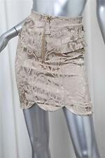 TEMPERLEY Gold Floral Brocade Ruffle Detail Zip Front Mini Skirt sz.2 NEW