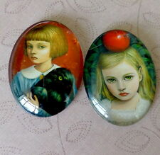 2 pcs 30x40mm Domed Oval Cabochons Character cabochon CH001