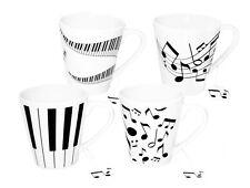Set de 4 piano / musique design porcelaine tasses idéal pour la maison et bureau