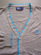 FRED PERRY BLUE LABEL CARDIGAN MEN'S LARGE GREY COTTON VINTAGE ITAW816