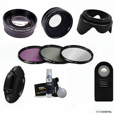HD WIDE ANGLE LENS + ZOOM LENS + REMOTE + FILTERS FOR NIKON  D5000 D5100 D5200