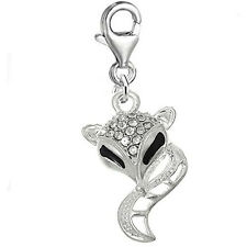 Fox Clip on for Bracelet Charm Pendant for European Charm Jewelry w/ Lobster Cla