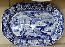 C1820 Blue & white country kitchen meat platter Italian scenery Leeds pottery
