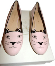 Charlotte Olympia Nude Leather Kitty Smoking Slipper Flats Shoe Ballet 41-10 Cat