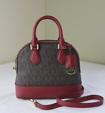 Michael Kors Brown Cherry Smythe Small Dome Satchel Crossbody
