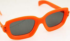 Vintage 1960s 70s Orange Fluoro Sunglasses Sunnies LARGE Wide Grey Lenses Retro