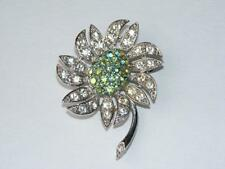 1968 Vintage Sarah Coventry Mountain Flower Silver Tone AB Rhinestones A6