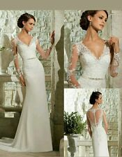 2016 white/Ivory Mermaid Lace Wedding Dress Size Bridal Gown 6-16 UK