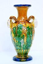 Nouveau-VASO ornamentali, MAIOLICA-vaso con capre CAVALLETTO-Grip, VINO DECORO, h.33, 5 cm.