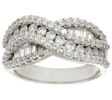 Epiphany Diamonique Round Baguette Sterling Silver Twist Ring Size 8 QVC