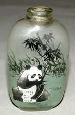 Vintage Original Chinese Inside Reverse Painted Snuff Bottle With Panda Bear