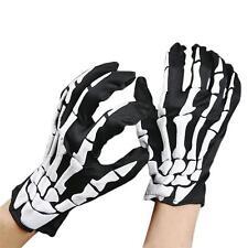 Halloween Skull Bone Skeleton Goth Racing Full Finger Gloves NEW