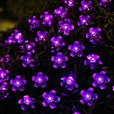 SOLAR String Fairy Lights 50 Flower LED Outdoor Garden Lights for Patio - Purple