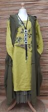 LAGENLOOK LAYERING 3 PCS DRESS+CARDIGAN+PETTICOAT*LIME/GREEN* BUST UP TO 50""