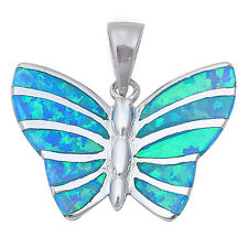 Blue Fire Opal Butterfly .925 Sterling Silver Pendant Necklace