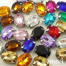 10pcs Mixed Colors Plated Cup Loose Rhinestone Beads Sewing Craft Embellishment