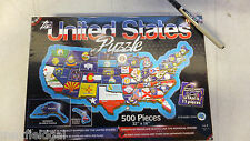 The United States Puzzle, 500 pieces shaped like states ea state overlaid w/flag