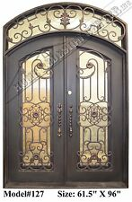 WROUGHT IRON FRONT DOORS EYEBROW ARCH TOP WITH TRANSOM (In Stock)