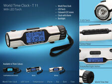 Pocket Size World Time Travel Alarm Clock With Calendar Temperature & LED Torch