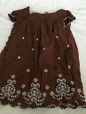 Baby Gap girls size 3 3T dress brown white floral flowers embroidered dressy