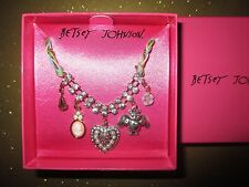 NEW BETSEY JOHNSON Charm Necklace Gift Box $35 Retail Owl Cameo Heart Flower