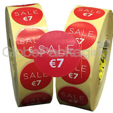 4000 x 'SALE €7' EURO Retail Self Adhesive Shop Price Labels Stickers 35mm