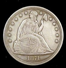 1871 (P) Choice Xf Details (cleaned/graffiti) Seated Liberty Silver Dollar - su2