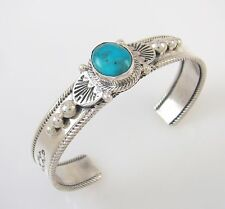 Gorgeous Navajo Sterling Silver & Turquoise Cuff Bracelet ROIE JAQUE | RS BI