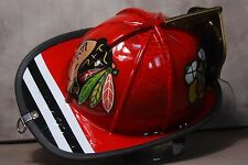 Awesome Custom Chicago Blackhawks Fire Helmet!Like Leather Firefighter Helmet!
