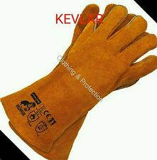 KEVLAR STITCHED GLOVES HIGH TEMP STOVE LONG LINED WELDERS GAUNTLETS LOG FIRE