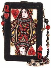 Mary Frances Lucky Lady Black Queen Red Card Alice Bead Purse Bag Handbag NEW