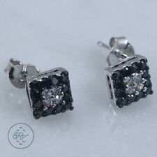 Sterling Silver - VICTORIA TOWNSEND Black & White Crystal 1.7g - Stud Earrings
