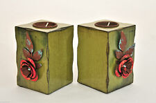 Autumn Fall Thanksgiving Wooden Candle Holder Shabby Primitive Pair Green NEW